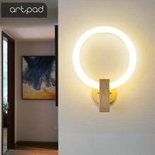 Nordic madeira lâmpada de parede acrílico redondo arandelas quarto lâmpada cabeceira criativo sala estar luminárias corredor escadas lâmpadas parede