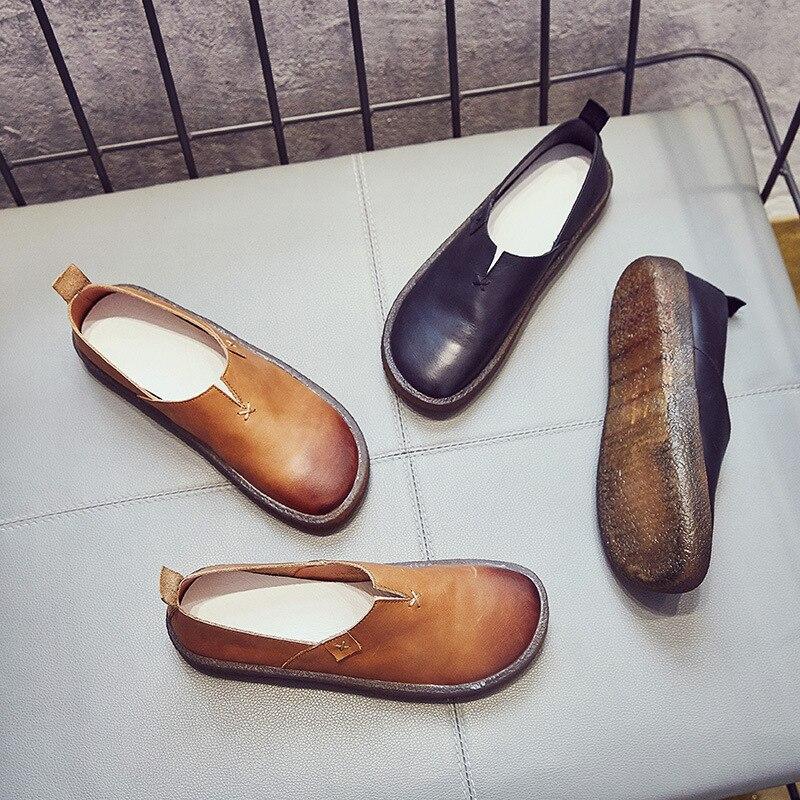 Chaussures Mode En camel Plates 2018 Vachette De Confortables Nouveau Appartements Populaire Plus Printemps Élégant Noir Color Cuir Rétro Femmes Doux gwqtx60Uan