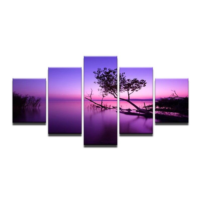 Purple Trees Lake Sunset Nature Landscape Painting 5 Panel Canvas Print Wall Art