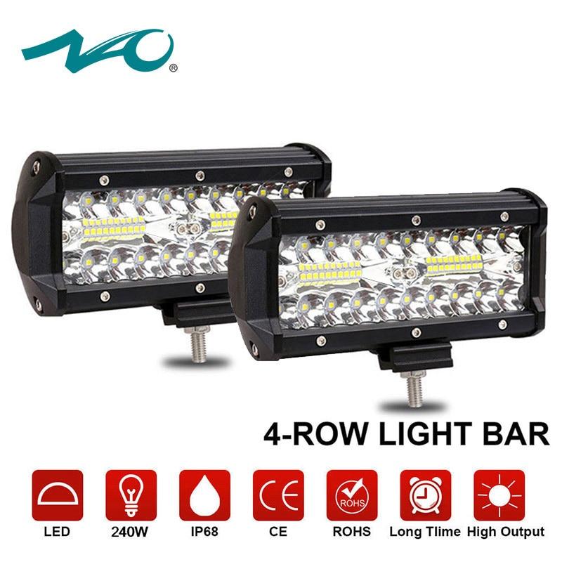цена на NAO led bar light work led lamp motorcycle car off road 4x4 led auto work light 12V combo offroad lights truck 2pcs 7inch 6000k