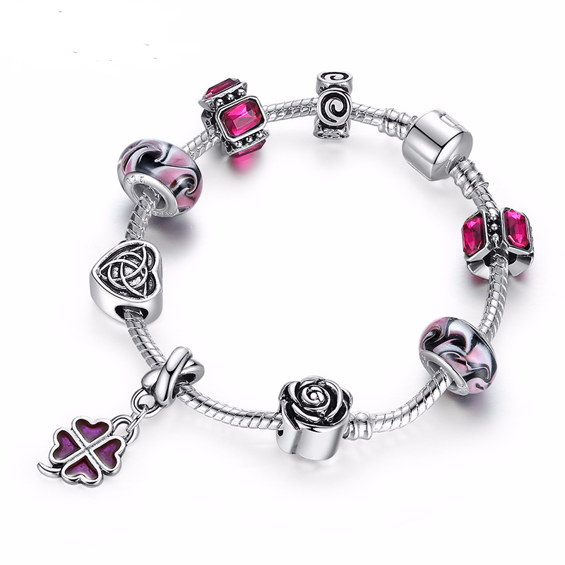 Pandor Style Bracelet Sunspots Rose Love Women Men Bracelet Diy Beaded Big Hole Beads Bracelet Fashion Jewelry