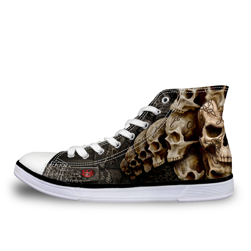 NOISYDESIGNS Cool Punk Skull Printed Men High top Canvas Shoes Breathable Casual Lace up Vulcanized Shoes Men High Top Sneakers