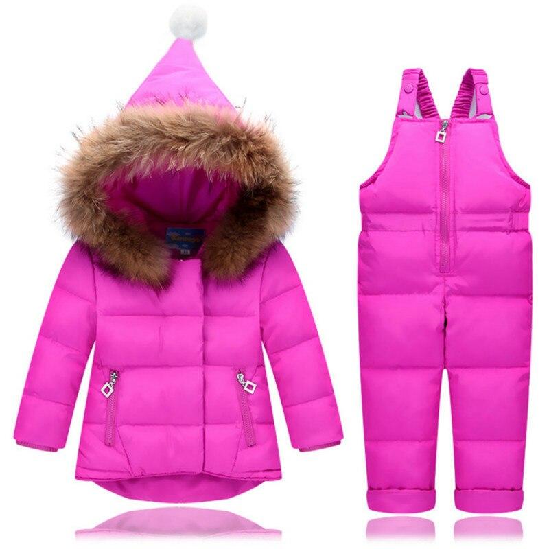 Enfants Ski costume infantile garçons filles chaud canard vers le bas Parka veste manteau + bavoir pantalon neige porter hiver enfants salopette vêtements ensembles