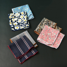 Mantieqingway 24*24cm Floral Printed Pocket Square Handkerchief for Men Suit Wedding Hanky Ladies Chest Towel
