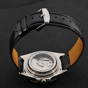 Image 5 - זוכה ייחודי Twotone עיצוב לוח קלאסי תאריך אוטומטי מכאני עצמי רוח שעון אופנה מזדמן עור שעון יד