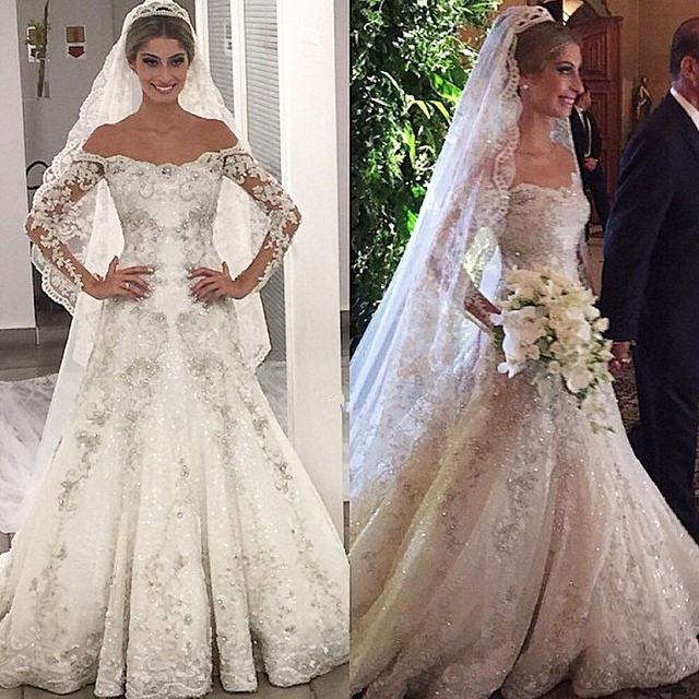 c26fc1f908e Long Sleeve Beaded Mermaid Wedding Dresses Luxury Crystal Lace Bridal Bride  Off Shoulder Wedding Gown 2016 Vestido De Noiva