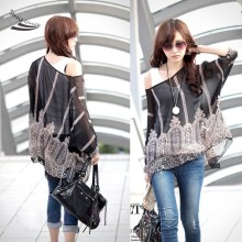 2017 Fashion Sexy Women Batwing Dolman Sleeve Chiffon Shirt Bohemian Tops Blouse Black L XL