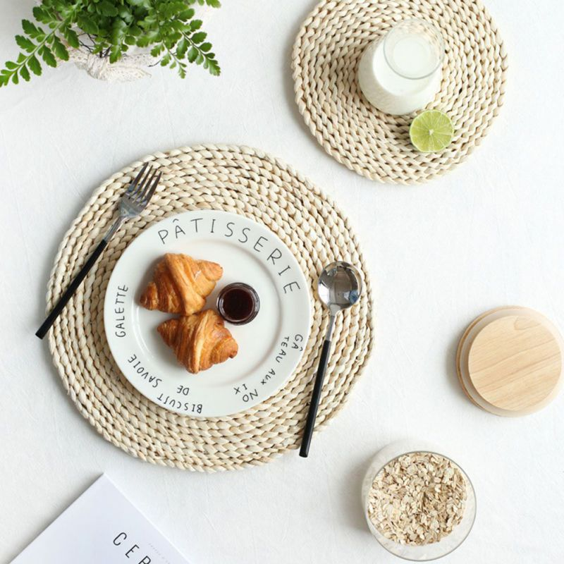 Rattan Placemats Straw Cup Coasters Dining Table Mat Heat