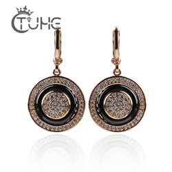585 Rose Gold Round Black Earrings Micro Wax Inlay Natural Zircon Black Ceramic Women Wedding Stud Earring Jewelry 2018 New Hot