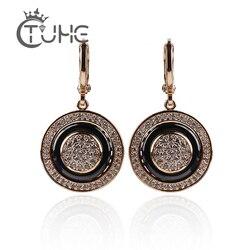 585 rosa ouro redondo preto brincos micro incrustações de cera natural zircão preto cerâmica feminino casamento brinco jóias 2018 novo quente