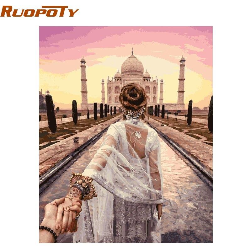 RUOPOTY Cadre BRICOLAGE Peinture Par Numéros De Pair Romantique Mur de La Maison moderne Art Toile Peinture Pour la Décoration De Mariage 40x50 cm Arts