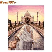 hot deal buy ruopoty diy painting by numbers hand in hand romantic modern home wall art canvas painting for wedding decoration 40x50cm arts