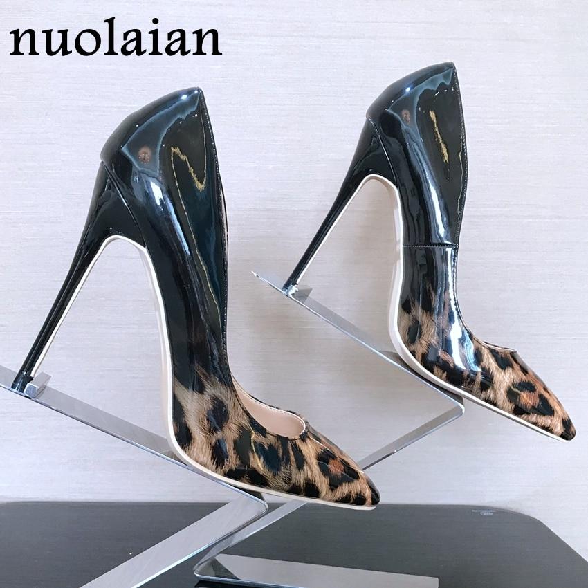 Thin Heels Shoe Womens Pumps Leopard Woman Wedding Ladies Shallow Patent 8/10/12cm