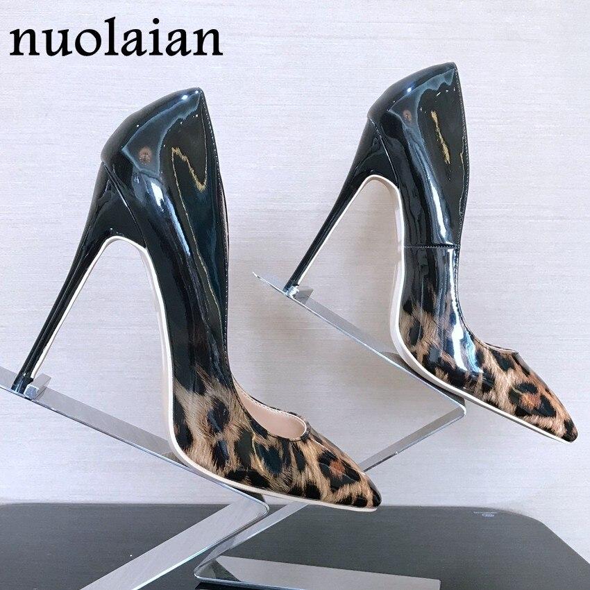 1d57e312834b 8 10 12CM Thin Heels Women High Heel Shoe Leopard Patent Leather Ladies Pump