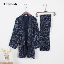 Пижамы для Для мужчин весна 100% хлопок брюки кимоно пижамы пижамный комплект Геометрические узоры пижамы Для мужчин кимоно