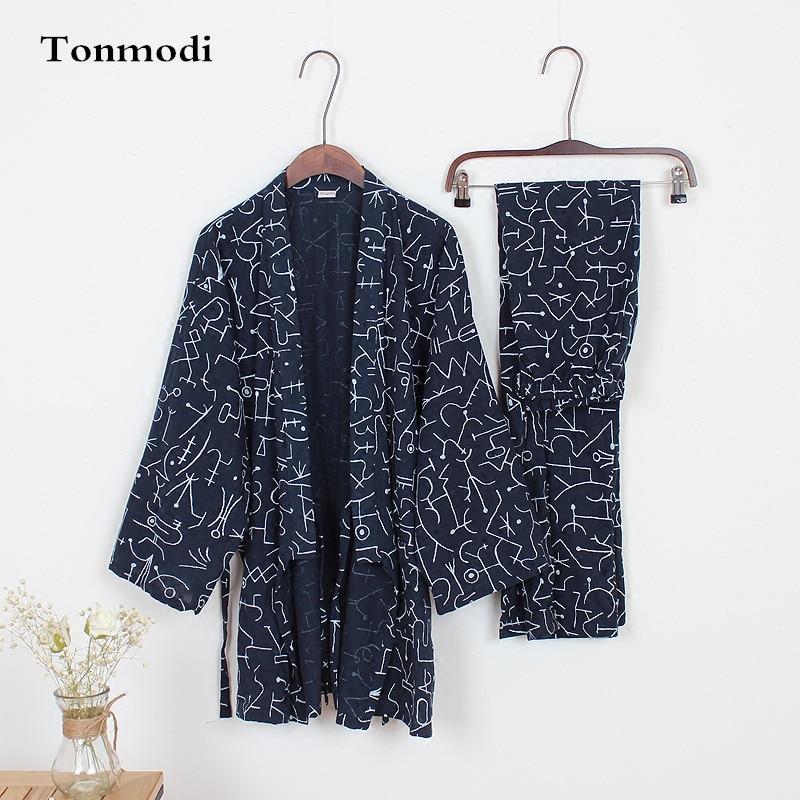 Pajamas For Men Spring  100% Cotton Kimono Trousers Sleepwear Pajama Set Geometric Patterns Pyjamas Men Kimono
