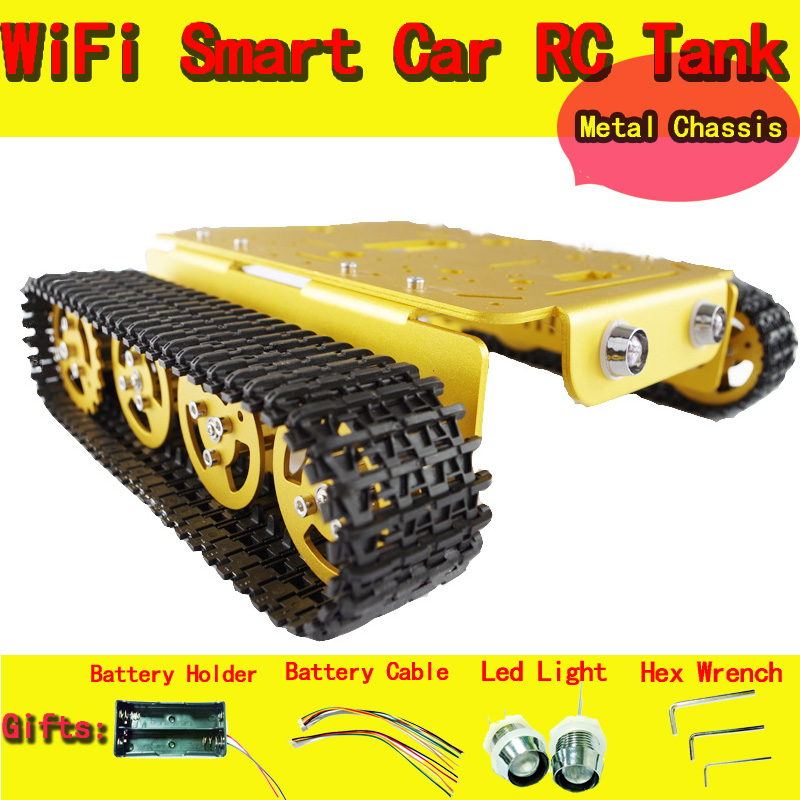 DOIT T200 Metal Robot Tank Car Chassis Caterpillar Accessory Remote Control Tracked Crawler Wheel DIY Toy Robotic Model original doit silver c300 metal 4wd wheel car chassis development kit remote control diy rc toy smart robot car model