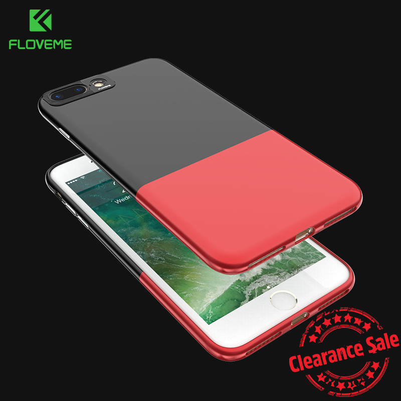 FLOVEME 2 in 1 Hybrid Phone Cases For iPhone 7 6 6s Plus Case Hit Color Smooth Skin Ultra Slim Phone Bag Boleh dilepas penutup belakang