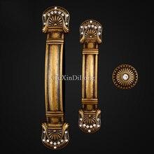10PCS European Antique Brass Kitchen Door Furniture Handles Cupboard Drawer Wardrobe Wine Cabinet Pulls and Knobs