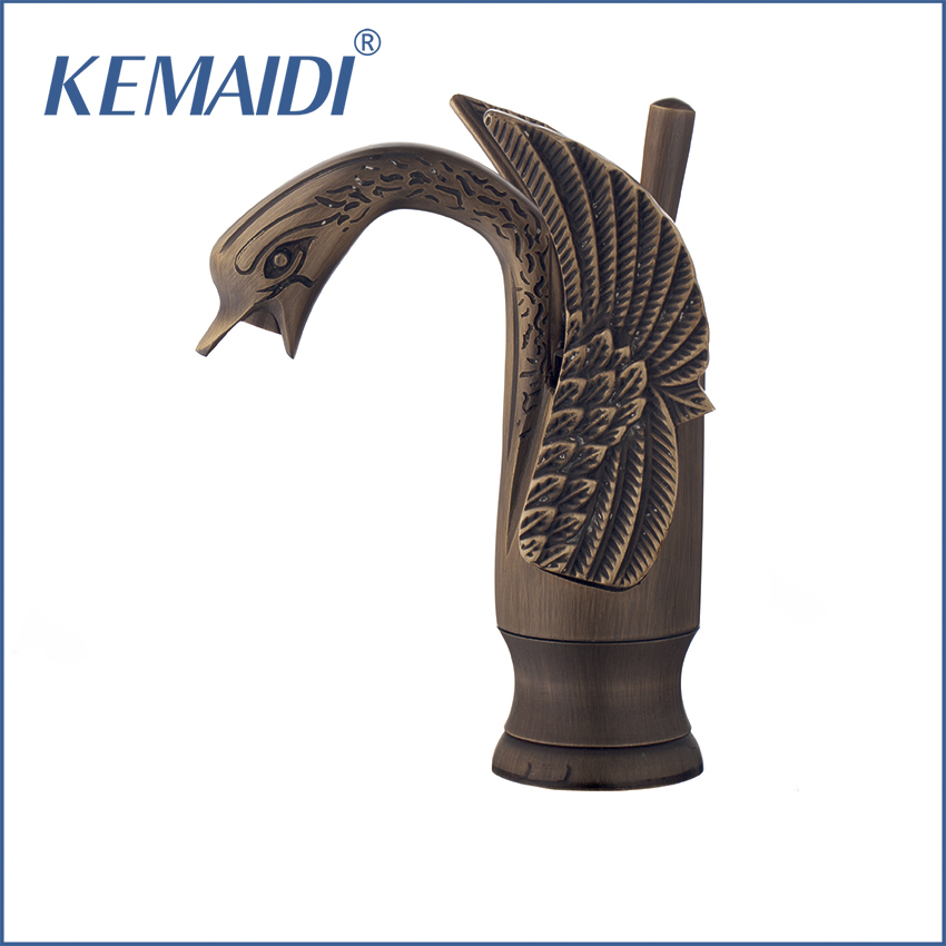 KEMAIDI New Arrival Antique Brass Bathroom Faucets Single Handle Deck Mounted Wash Basin Sink Vessel Torneira Faucet Mixer Tap kitchen 97152 retro design bathroom vessel sink mixer faucet single handle deck mounted basin faucet antique brass torneira