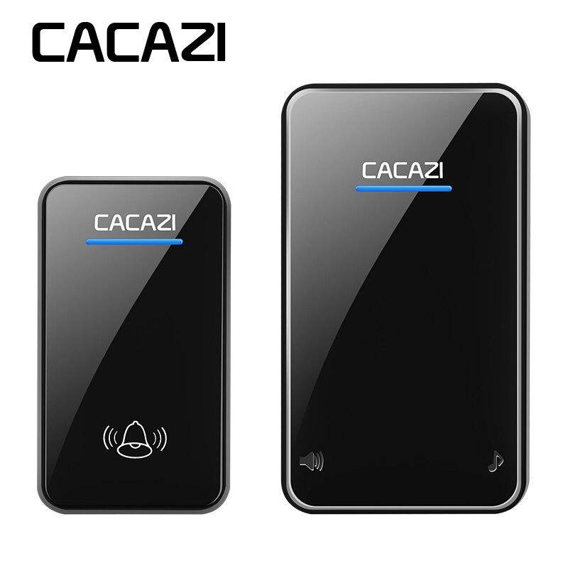 CACAZI sans fil sonnette étanche AC UE/US/UK/AU plug maison Intelligente LED sonnette 300 m à distance 48 anneaux 6 volume porte carillon