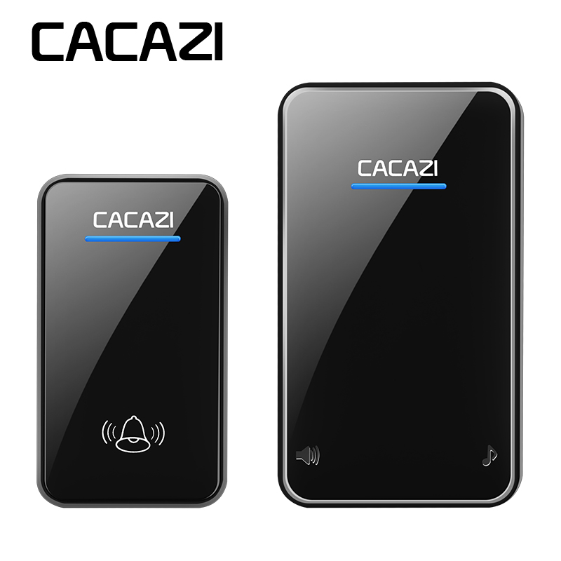 CACAZI wireless doorbell waterproof AC EU/US/UK/AU plug Smart home LED doorbell 300M remote 48 rings 6 volume door chime wireless cordless digital doorbell remote door bell chime waterproof eu us uk au plug 110 220v