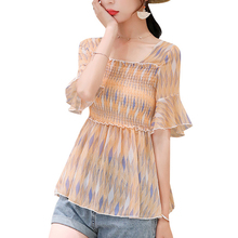 2019 Summer New Fashion slim Chiffon Print Women Shirt trumpet sleeves Blouses shirt top Womens Clothing 871B7