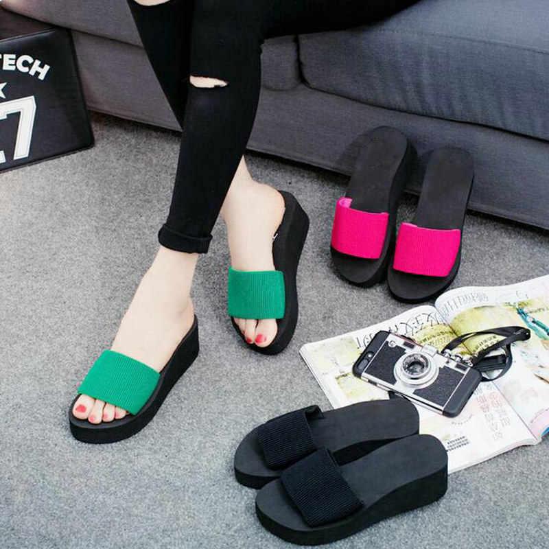 72c5ebe3ee0b2 2018 Summer Woman Shoes Platform bath slippers Wedge Beach Flip Flops High  Heel Slippers For Women