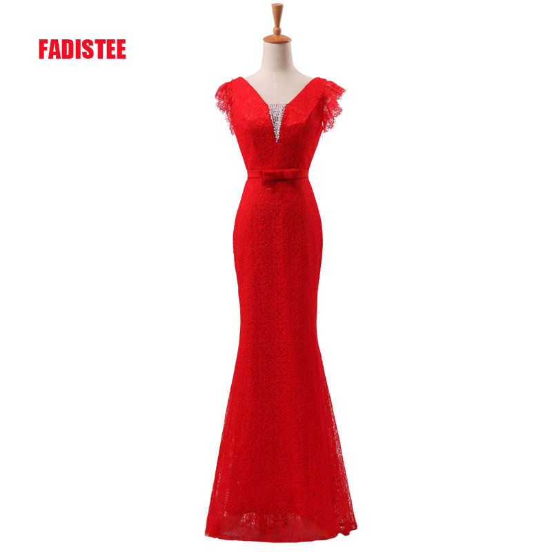 FADISTEE New arrive party   prom     dress   Vestido de Festa luxury beading V-neck lace long gown ruffles sleeves evening long gown