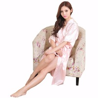 Hot Sale Pink Ladies Kimono Bath Gown Chinese Style Summer Casual Robe Women Nightgown Belt Pajamas