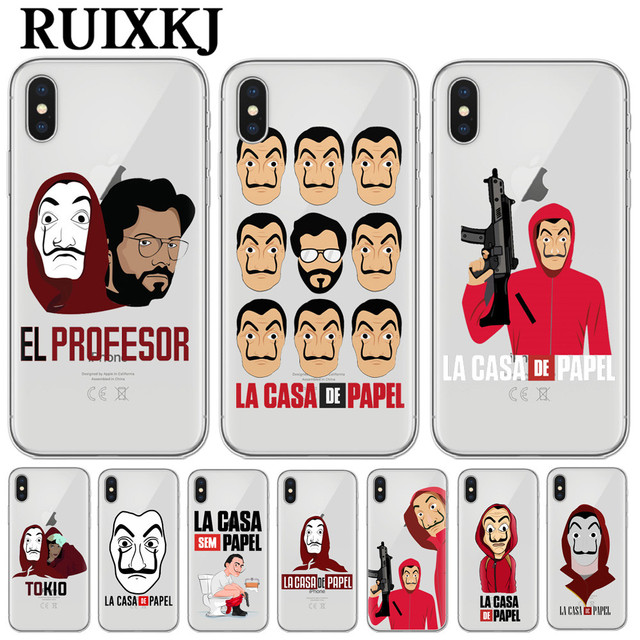c646477e7d7 RUIXKJ Phone Cases Spain TV La Casa de papel Case For iPhone X Fundas For iPhone  5 5S SE 6 6S 7 8 Plus Cool Cartoon Back Cover