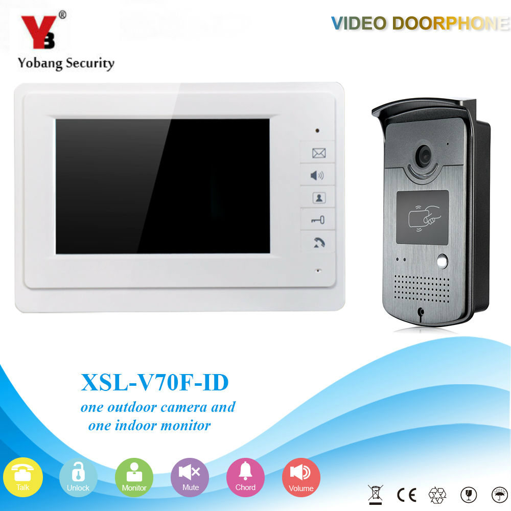 YobangSecurity 7 Inch Door Viewer Video Doorbell Home Security Camera Monitor Intercom System Door Entry Kit with RFID Keyfobs yobangsecurity video door intercom entry system 2 4g 9 tft wireless video door phone doorbell home security 1 camera 2 monitor