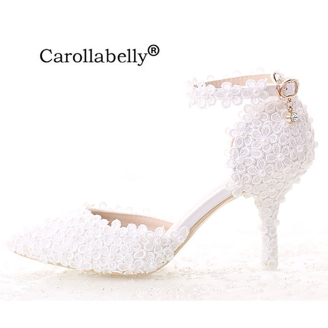 Women Pumps White Lace Pearls Wedding Shoes Women High Heels Ladies  Party Dress Shoes Pointed Toes Size EU34-39 24a55821bc97