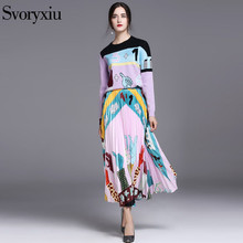 SVORYXIU New Autumn Set Suit Women's Purple Wool Blended knitting Sweaters + Pleated Long Half Skirt Runway Twinset