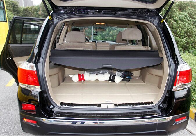 Free shipping 2012  Highlander special modified car trunk cover material curtain separated block Security Shield Cover car rear trunk security shield cargo cover for volkswagen vw tiguan 2016 2017 2018 high qualit black beige auto accessories