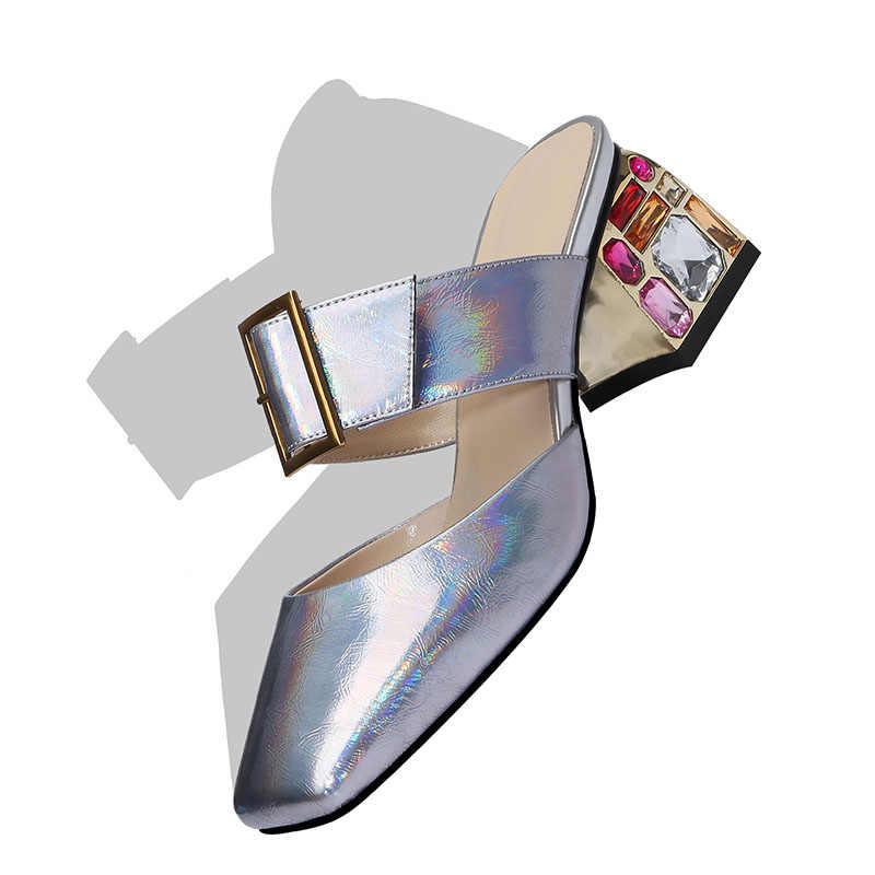 BEIJO Molhado Verão Chinelos De Casamento colorido De cristal sapatos De Salto Alto Sapatos Femininos Mulas sapatos De couro De vaca 2019 Nova Mulheres Desliza sapatos