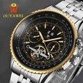 Lo nuevo ouyawei marca de cuero de lujo de oro reloj mecánico para mentop skeleton hombres reloj hombre