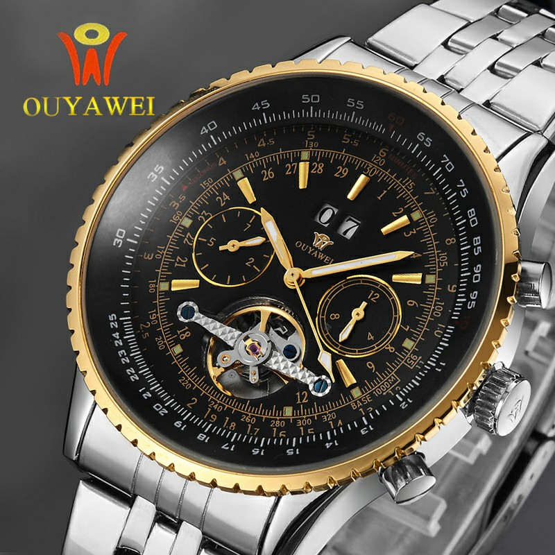 NEWEST OUYAWEI GOLD Mechanical Watch For Men Top Brand Luxury Business Leather Skeleton Men Watch Reloj Hombre 2019 in Mechanical Watches from Watches