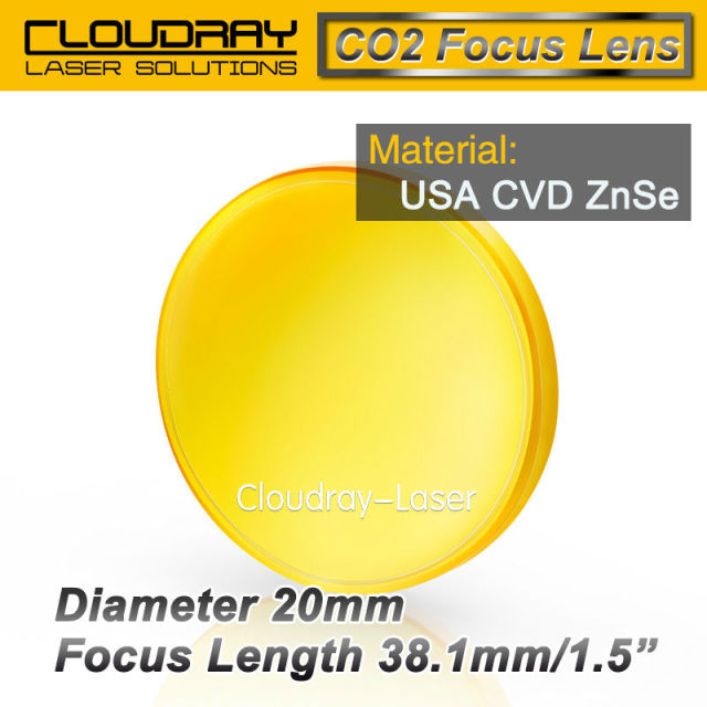 "USA CVD ZnSe Focus Lens Dia. 20mm FL 38.1mm 1.5"" for CO2 Laser Engraving Cutting Machine Free Shipping"