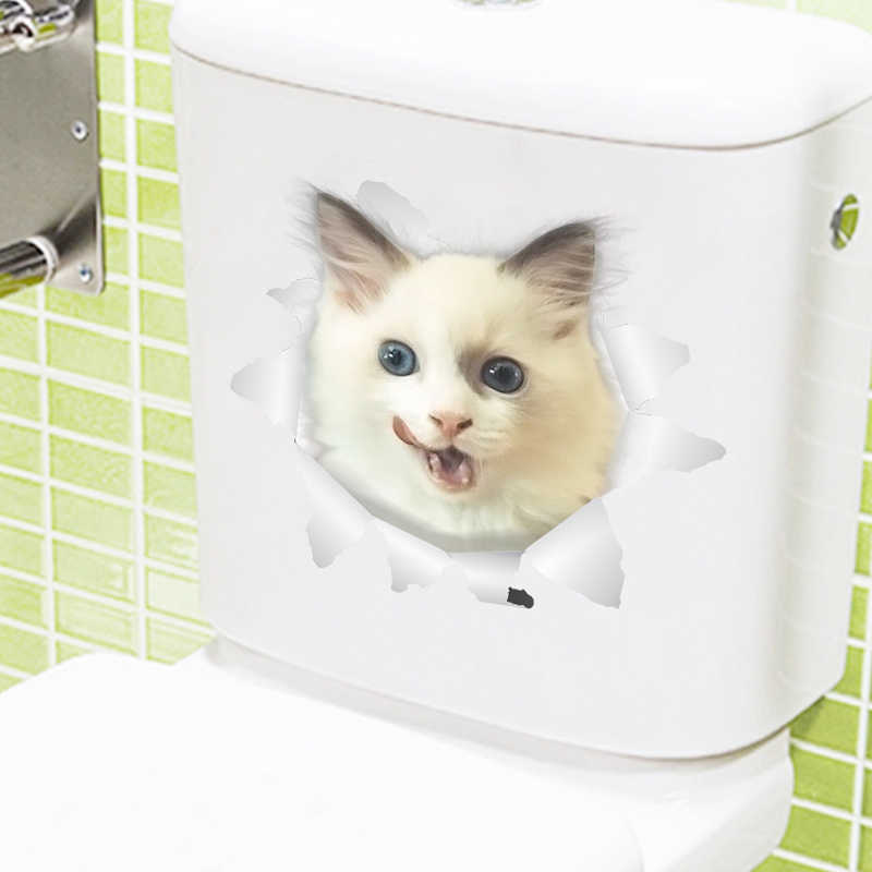 Cat Vivid 3D Fracassato Interruttore Autoadesivo Della Parete Bagno Wc Kicthen Decalcomanie Decorative Animali Divertenti Decor Poster Pvc Murale di Arte