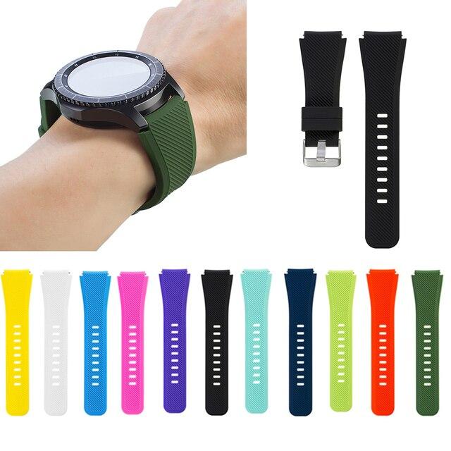 1 זוג סיליקון צמיד רצועת שעון בנד לסמסונג הילוך S3 Frontier קלאסי עיצוב שחור טהור צבעים