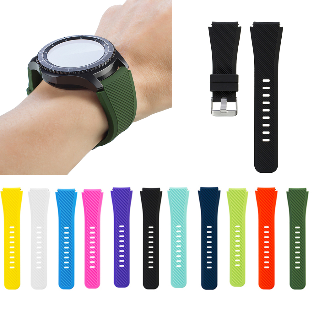 1Pair Silicone Bracelet Strap Watch Band For Samsung Gear S3 Frontier Classic Design Black Pure Colors 18 colors rubber wrist strap for samsung gear s3 frontier silicone watch band for samsung gear s3 classic bracelet band 22mm