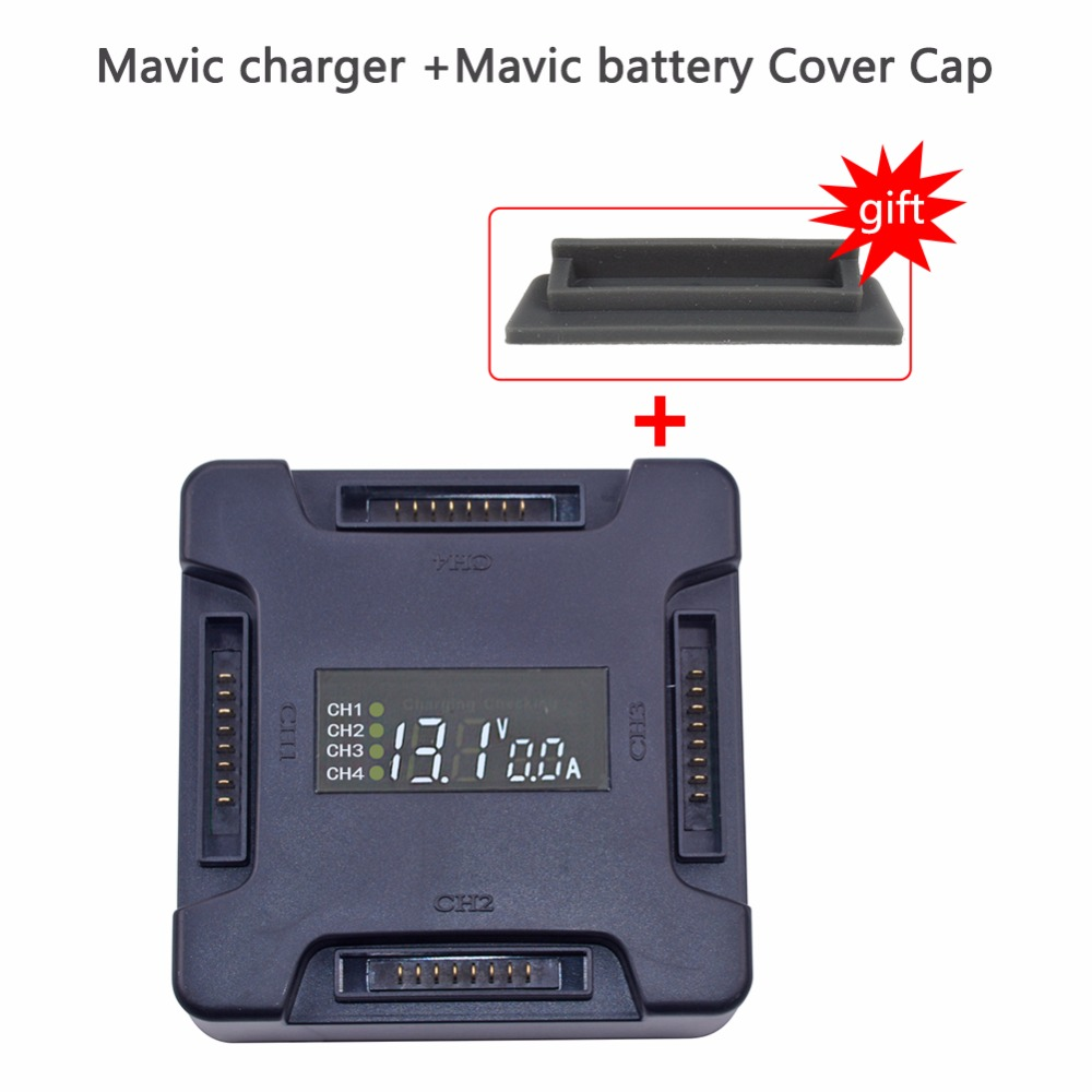 4 in1 mavic pro battery Digital Display Charging Board mavic charger Hardshell Battery Charger +mavic pro battery Cover Cap travel aluminum blue dji mavic pro storage bag case box suitcase for drone battery remote controller accessories