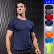все цены на New Men T shirts  Short Sleeve Training Fitness Blouse Gym Running body fit t shirt Tight Stretch Breathable Quick Dry T Shirts онлайн