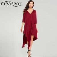 Meaneor Women Casual V Neck 3 4 Sleeve Solid Front Ruffle Asymmetrical Hem Dress