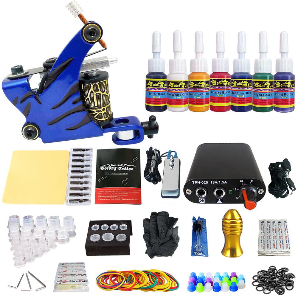 Hybrid Complete Tattoo Coil Machine Kit For Liner Shader Power Supply Foot Pedal Needles Grip Tips Tattoo Body&Art TK105-7 2017 pro complete tattoo machine kit set 2pcs coil tattoo machine gun power supply needles grips tips footswitch for body art