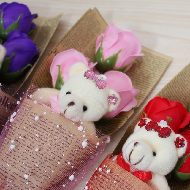 Lovely Colorful plush bear doll with soap flower bouquet flower gift ...
