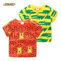 Crocodilo dos desenhos animados/Padrão de Tigre Camisa Do Bebê T de Manga Curta Imprimir Tops Moda Meninos Camisetas Meninos Roupas de Verão do Menino Da Criança Tees