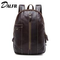 DALFR Genuine Leather Shoulder Bag Men Fashion Backpack Mens Leather School Bag Designer Bags High Quality Luggage Bags