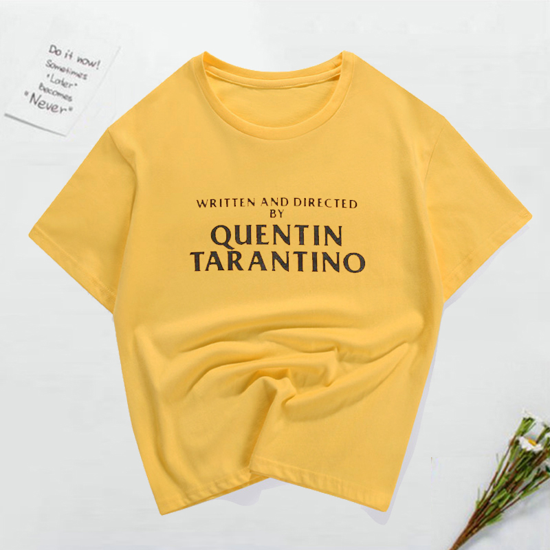 2019-new-women-summer-t-shirt-priting-letters-written-and-directed-by-quentin-font-b-tarantino-b-font-golden-women's-round-neck-t-shirt